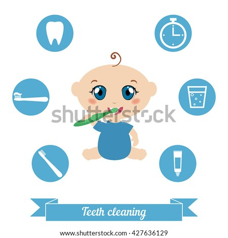 Little baby brushing his teeth. Health care concept. - stock vector