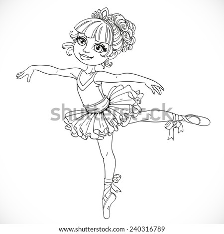 Little ballerina girl dancing in ballet tutu on one leg outlined isolated on a white background - stock vector