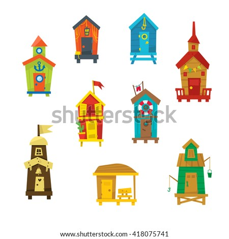 Little Beach Cabins Cute Set Of Cartoon Style Colorful Flat Vector Icons Isolated On White Background