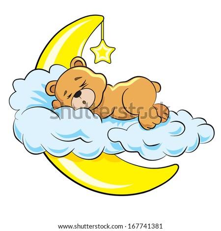 little bear sleeps on a cloud near a moon - stock vector