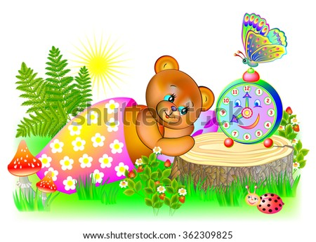 Little bear wakes up in the morning, vector cartoon image. - stock vector