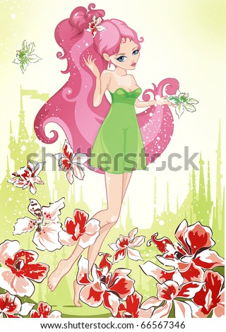 Little beautiful Fairy on floral summer background. Abstract Background for your Children. Greeting postcard with Adorable elf girl. - stock vector