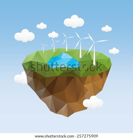 Little beautiful planet-island floating in the sky. Vector Illustration. - stock vector