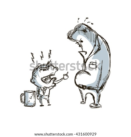 Little big angry boss and manager cartoon sketch hand drawn vector illustration - stock vector