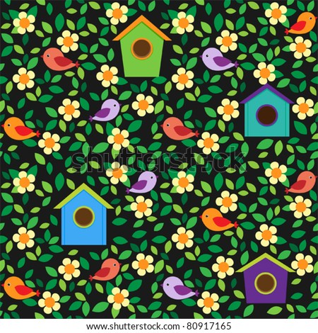 Little birds and birdhouses among flowers and leafs on dark background. Seamless pattern. - stock vector