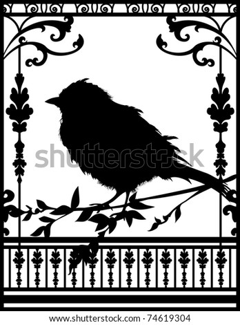 Little black bird setting one the tree. - stock vector