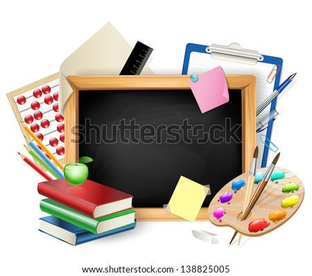 little blackboard as background with pens,pencils,books,apple - stock vector