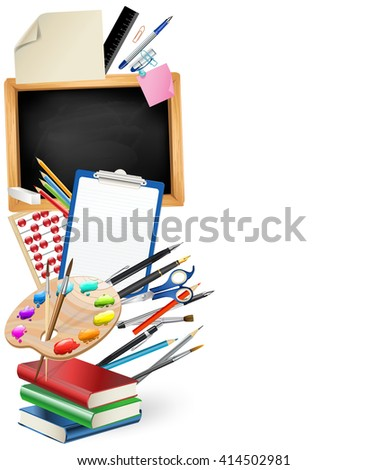 little blackboard border with notepad sheets, color pencils, pens, ruler,art palette, pile of books. school vertical background - stock vector