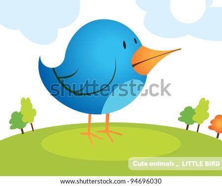 Little blue bird - stock vector