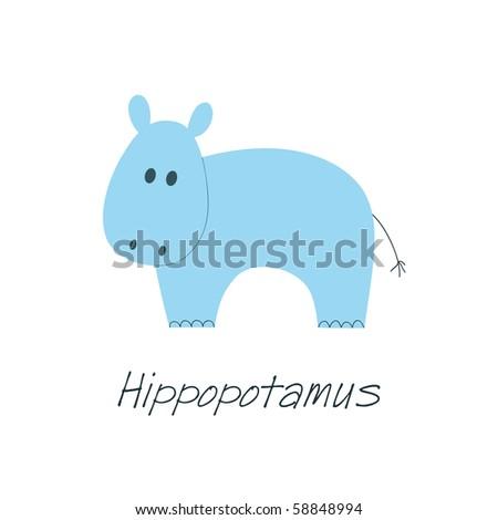 Little blue hippopotamus on white background, element for kid or baby design - stock vector