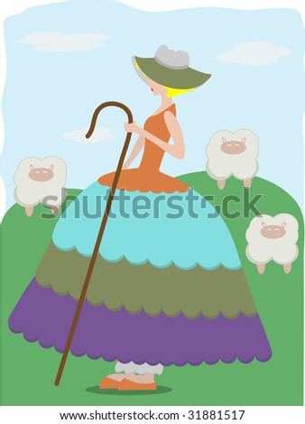 Little Bo Peep with sheep wearing large colorful dress - stock vector