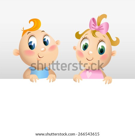 Little boy and girl peeking from behind fences - stock vector