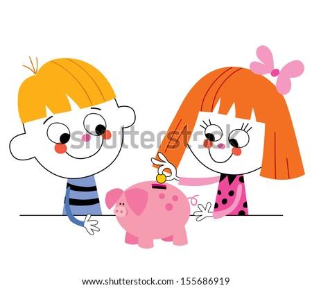 little boy and girl with piggy bank Children's savings - stock vector