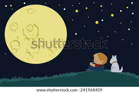 Little Boy and his dog sit over the hill looking at the big moon - stock vector