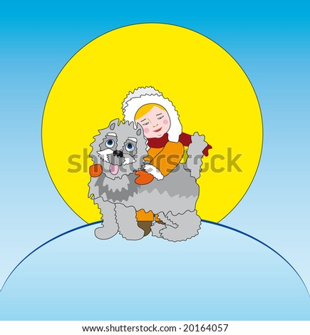 little boy and puppy - winter postcard - stock vector