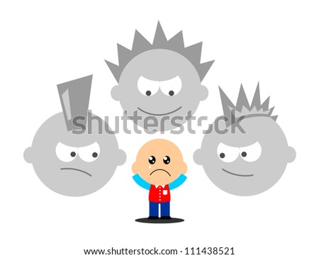 little boy being bullied by bad boys - stock vector