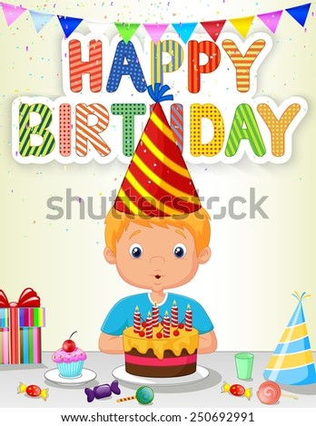 Little boy blowing birthday candle - stock vector