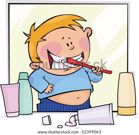 Little boy brushing his teeth - stock vector