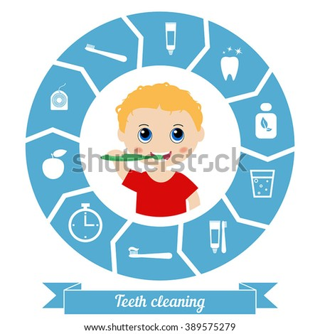 Little boy brushing his teeth. Health care concept. - stock vector
