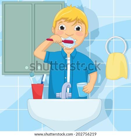 Little Boy Brushing Teeth Vector Illustration - stock vector
