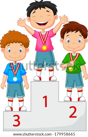 Little boy celebrates his golden medal on podium - stock vector