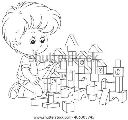 little boy constructing a toy house with bricks - stock vector
