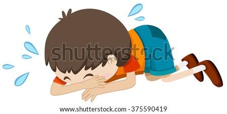 Little boy crying alone illustration - stock vector