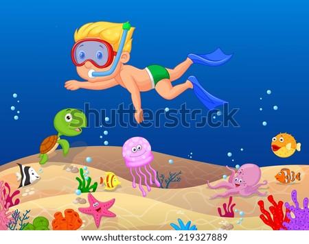 Little boy diving in the ocean - stock vector