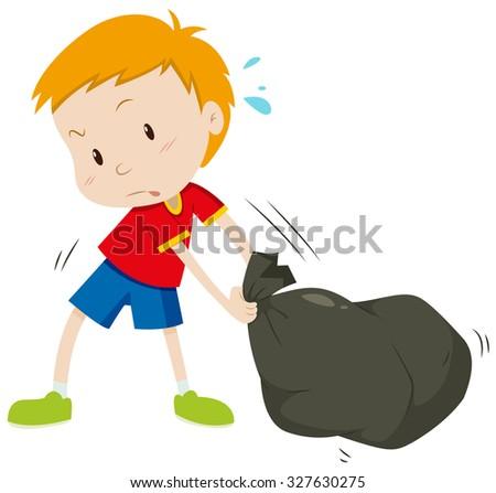 Little boy dragging a black bag illustration - stock vector