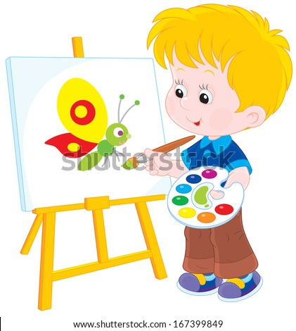 Little boy drawing a picture with a funny butterfly - stock vector