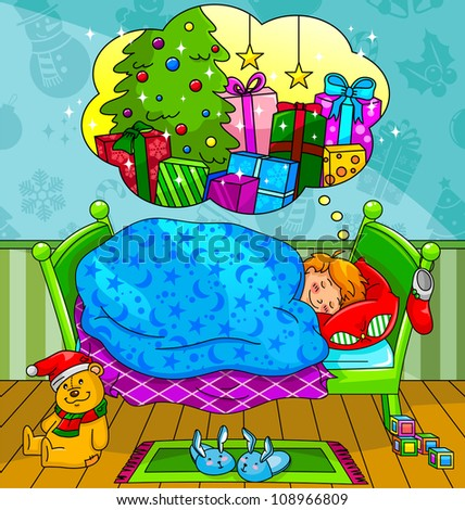 little boy dreaming about christmas presents (JPEG version available in my gallery) - stock vector