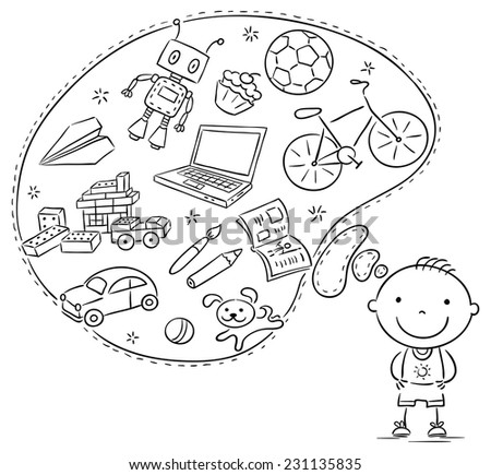 Little boy dreaming or thinking about things he likes, toys, books, sweets, sport, computer - stock vector