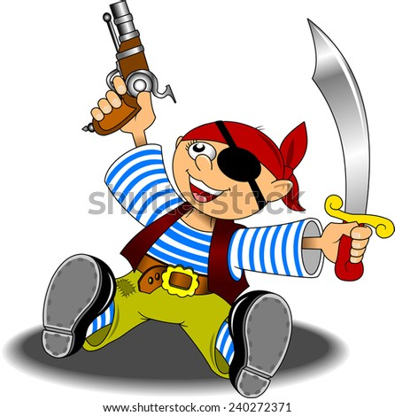 little boy dressed as a pirate with a saber and a pistol - stock vector