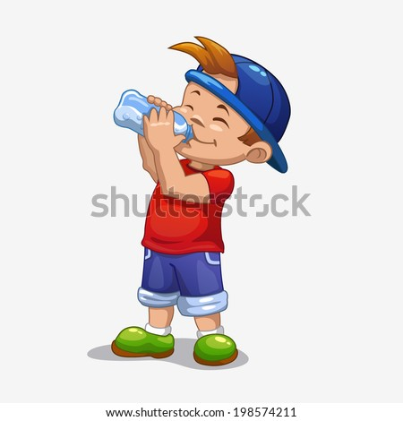 Little boy drinks water - stock vector