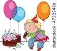 Little boy eating birthday cake - stock vector