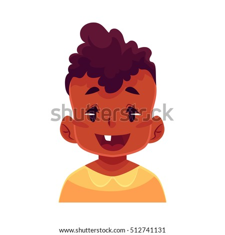 Little boy face, wow facial expression, cartoon vector illustrations isolated on white background.