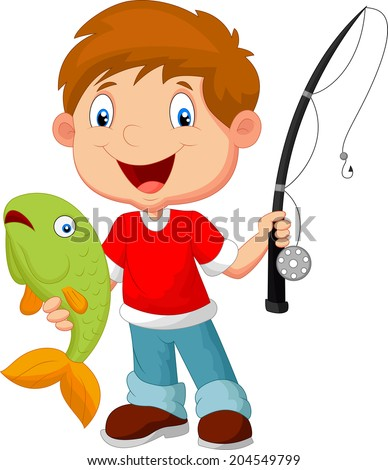 Little boy fishing - stock vector