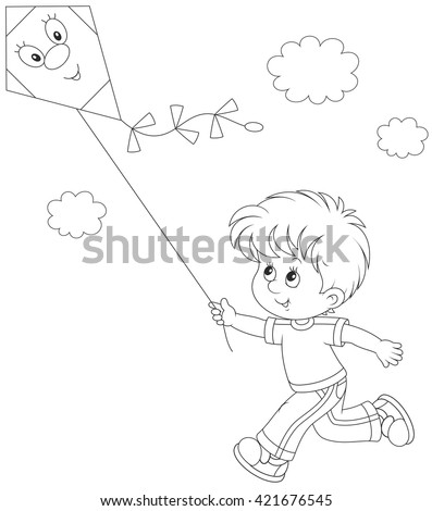 Little boy flying a kite - stock vector
