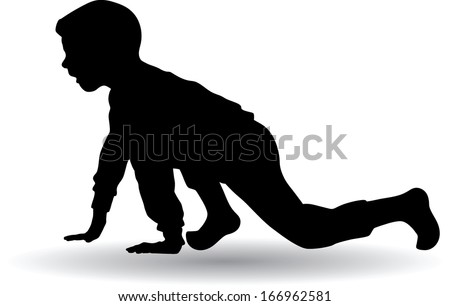 little boy getting ready for the start of the race vector silhouette - stock vector