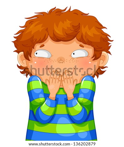 little boy giggling with his hands on his mouth (JPEG available in my gallery) - stock vector