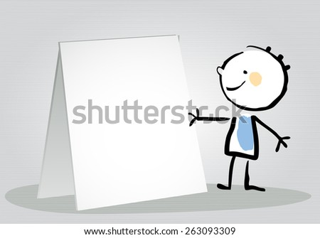 Little boy holding a blank placard, sign. Happy kids vector doodle style sketchy  illustration, line art.  - stock vector