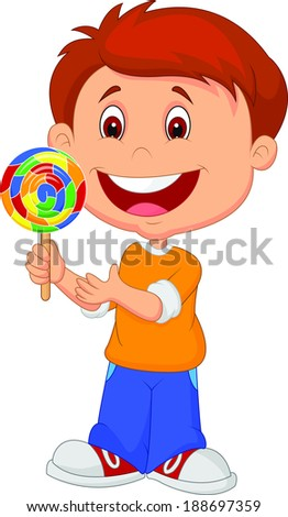 Little boy holding lollipop candy  - stock vector