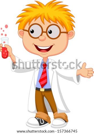 Little boy holding test tube - stock vector