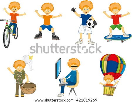 little boy in different situations - stock vector