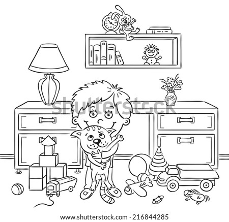 Little boy in his playroom holding his cat - stock vector