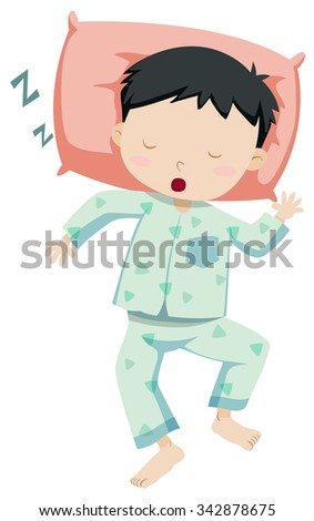 Little boy in pajamas sleeping illustration - stock vector