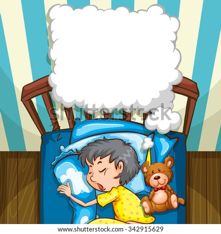 Little boy in yellow pajamas sleeping illustration - stock vector