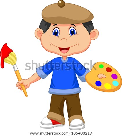 Little boy is painting with paintbrush - stock vector