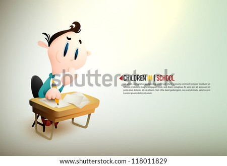 Little Boy Learning In School | EPS10 Vector Background | Layers Organized and Named Accordingly - stock vector
