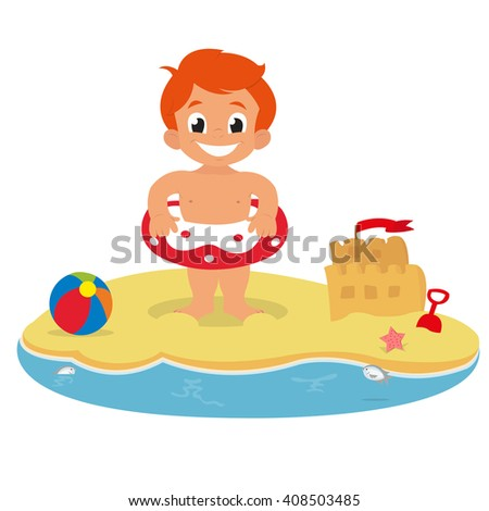 little boy on the beach. boy with a circle on the beach of the ocean. boy on the beach of a tropical island. boy standing on the beach with an inflatable toy. vector - stock vector